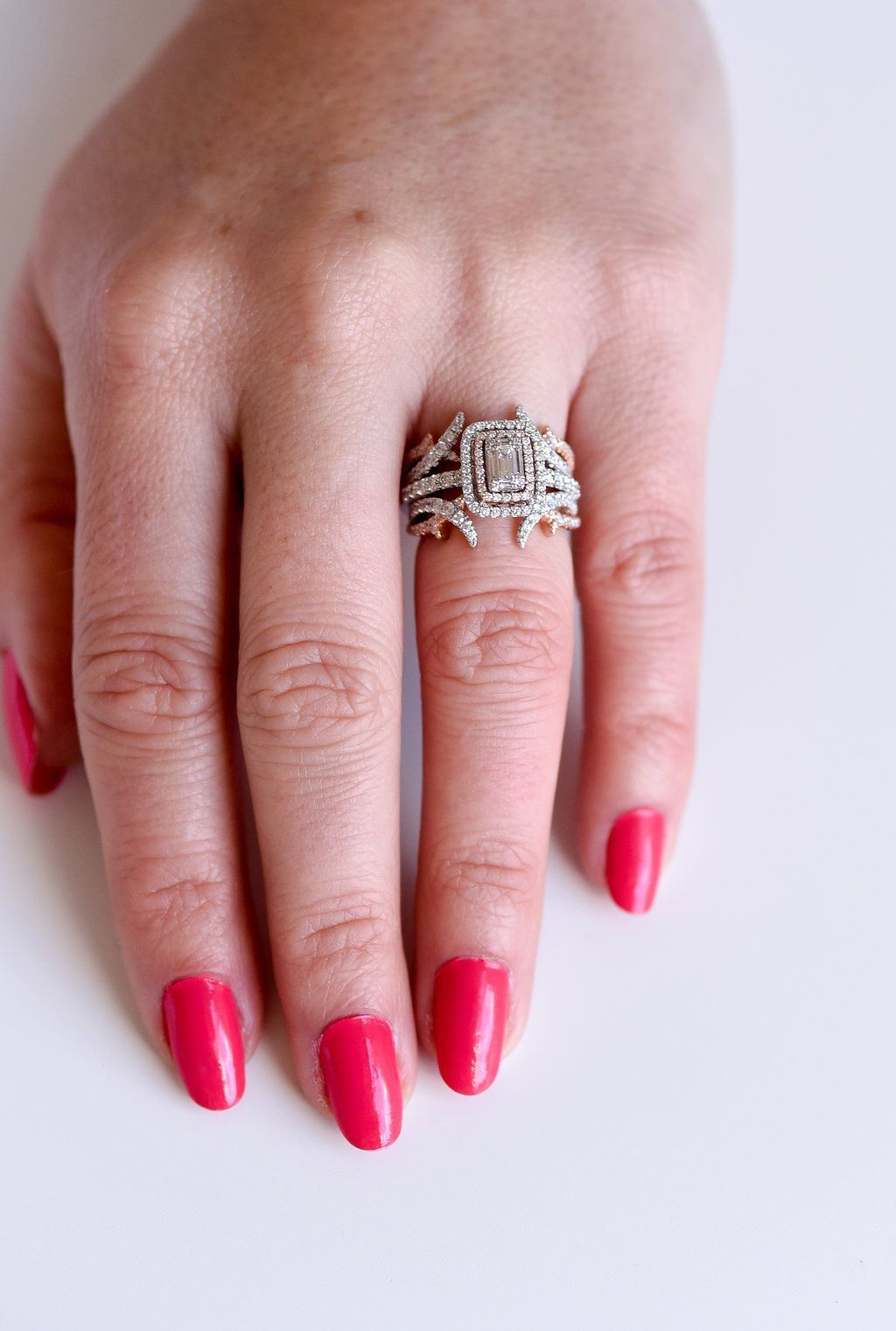 14k Two Tone Rose and White Gold Diamond Ring Jacket. Criss crossing ...