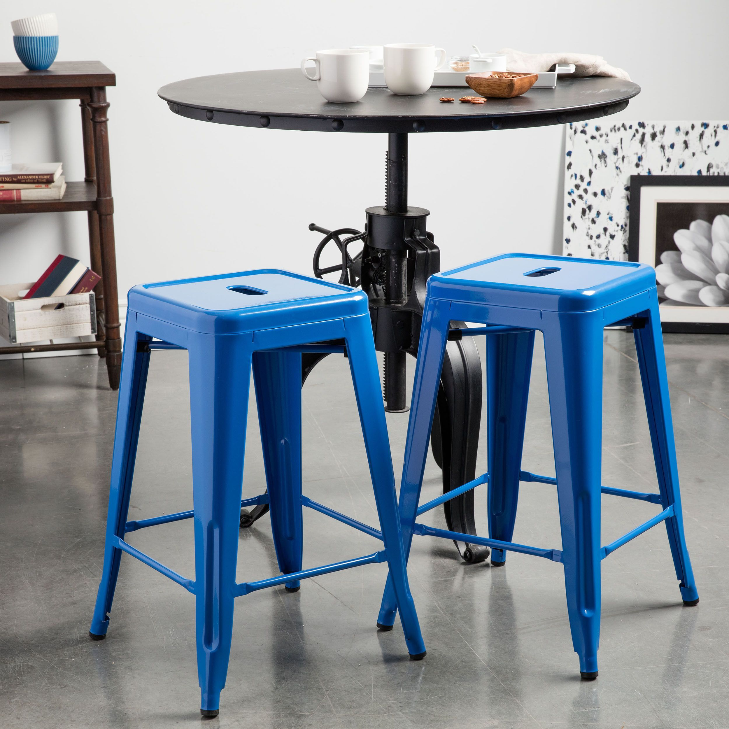 tabouret 24 inch baja blue metal counter stool set of 2 baja blue