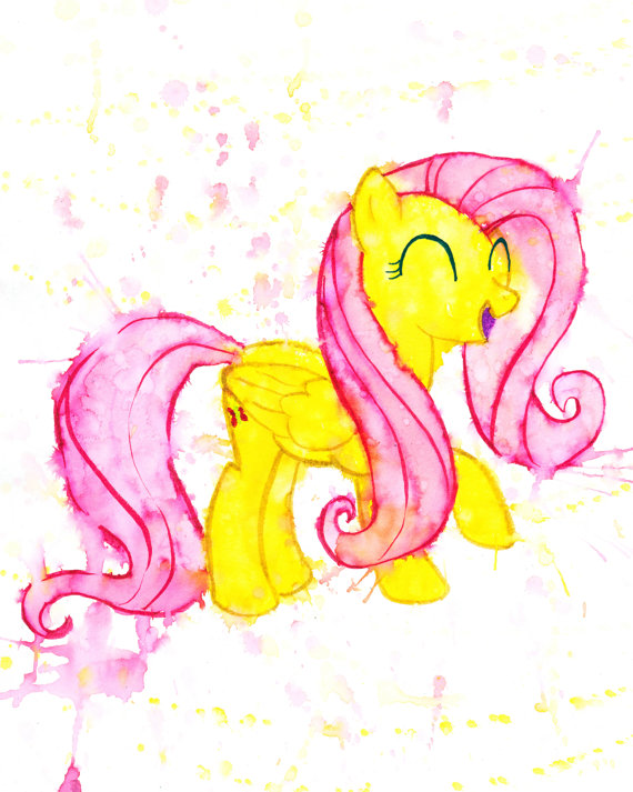 Fluttershy My Little Pony MLP Brony Hand Painted Watercolor Print ...