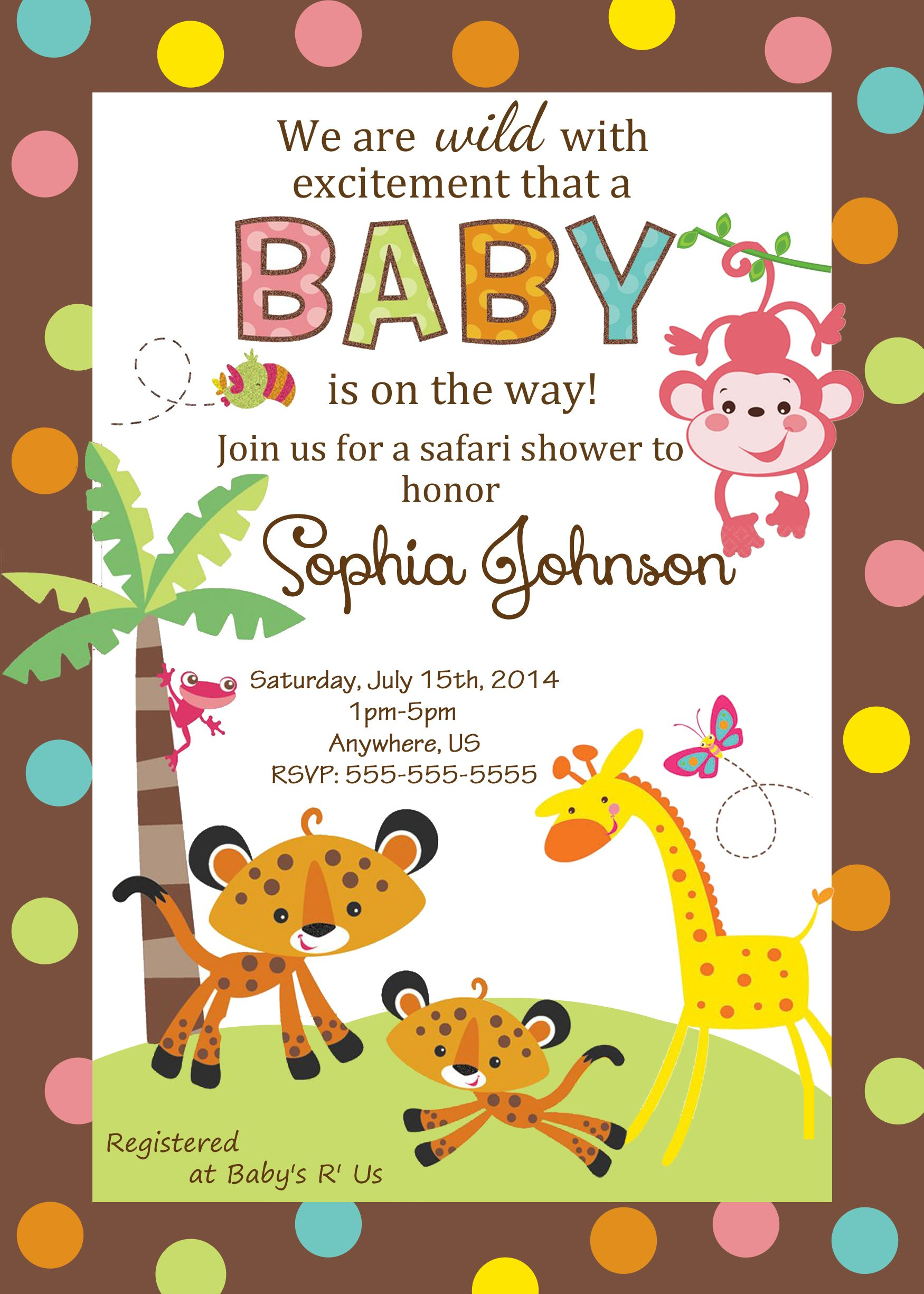 Fisher Price Baby shower custom Invitations $8 99 pink monkey