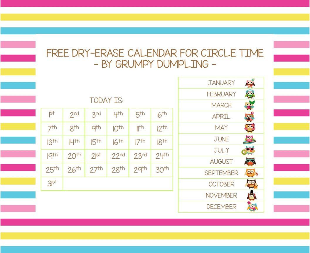 Dry Erase Calendar For Circle Time