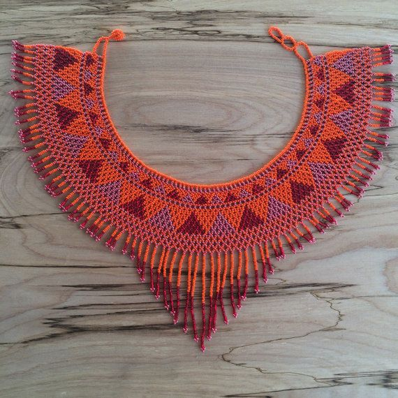 GUERRERA Fringe Necklace / Beaded Necklace / Collar by FLORyFAUNA