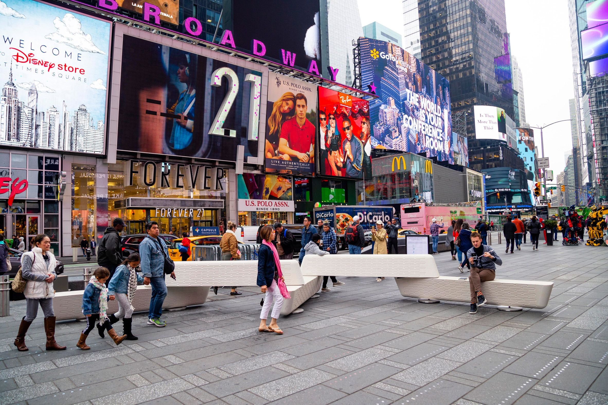 Joe Doucet Installs Anti Terror Benches In New York S Times Square Times Square Urban Furniture Innovative Architecture