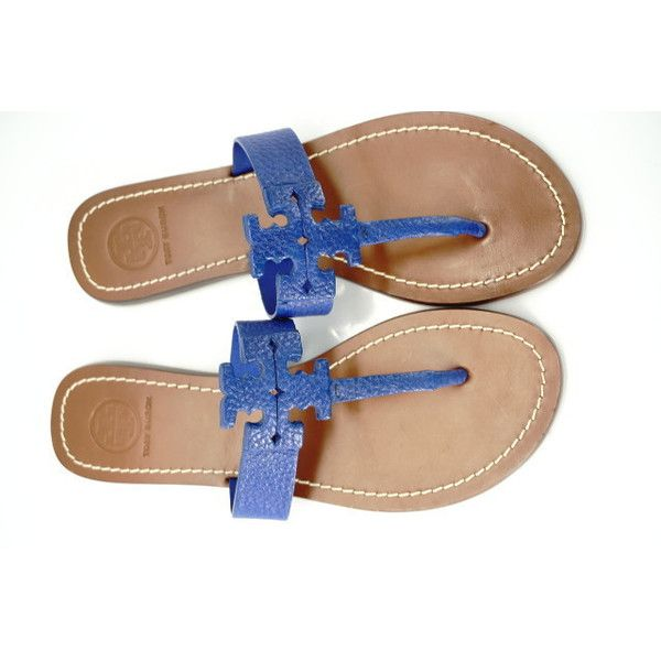 136b67466 Tory Burch Moore Cobalt Blue Logo Flat Sandals Size 6.5  195 Thongs... (