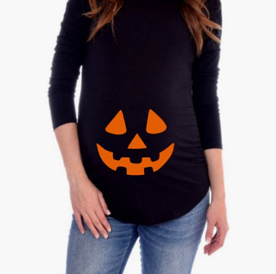 49df49ceed7af Halloween Pumpkin Face Maternity Shirt / by CutieButtsBoutique ...