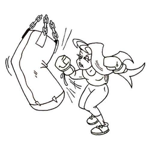 The Girl Boxing Workout Coloring Page Coloring For Kids Coloring Pages For Kids Coloring Pages