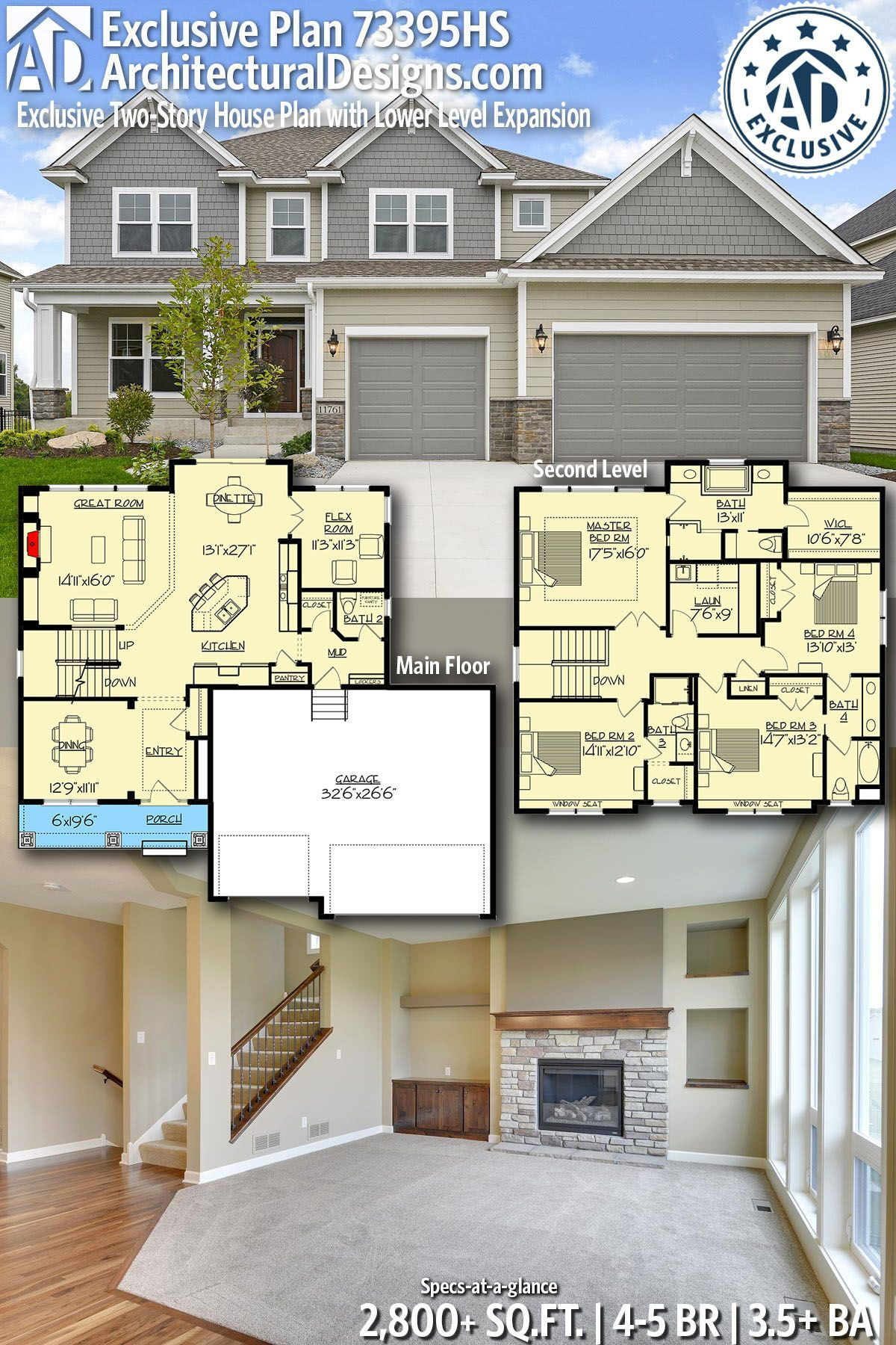 Architectural Designs Exclusive Home Plan 73395HS gives you 4-5 bedrooms, 3.5 ba...        Architectural Designs Exclusive Home Plan 73395HS gives you 4-5 bedrooms, 3.5 baths and 2,800+ sq. ft. With an optional lower level! Ready when you are! Where do YOU want to build? #73395HS #adhouseplans #newamerican #architecturaldesigns #houseplans #architecture #newhome #craftsman #exclusive #northwest #newconstruction #newhouse  #homeplans #architecture #home #homesweethome