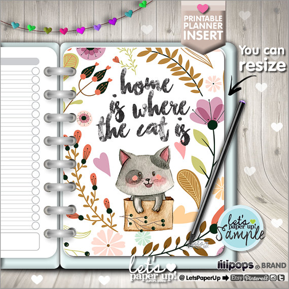 Planner Insert, Printable Planner Insert, Planner Divider, Planner Quotes, Erin Condren, Planner Dashboard, Kawaii Planner, Divider, Cat
