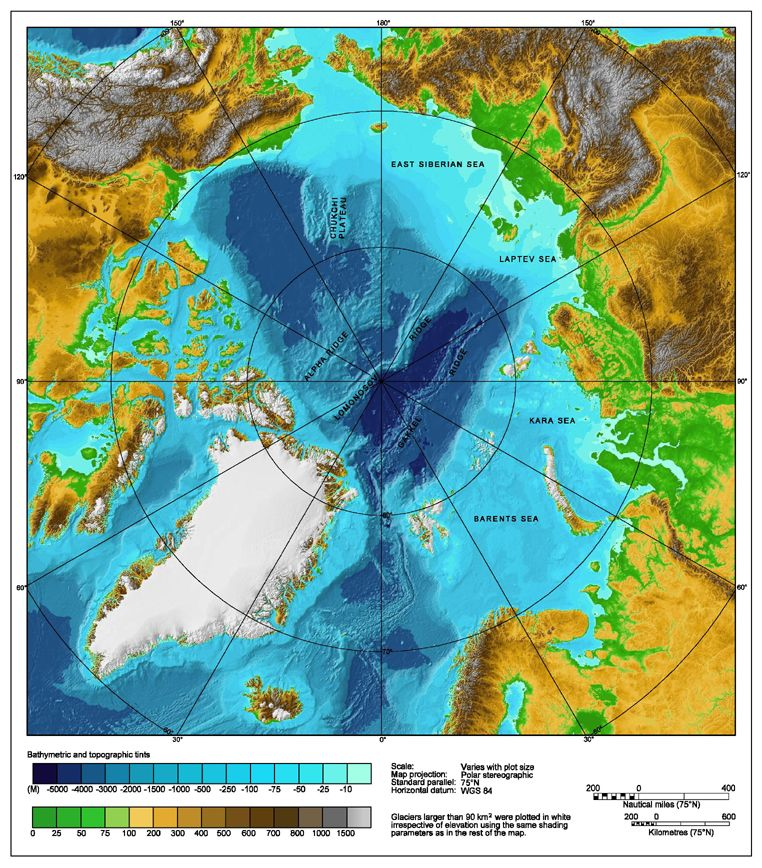 topographic map of the arctic A Bathymetric Topographic Map Of The Arctic Ocean And The