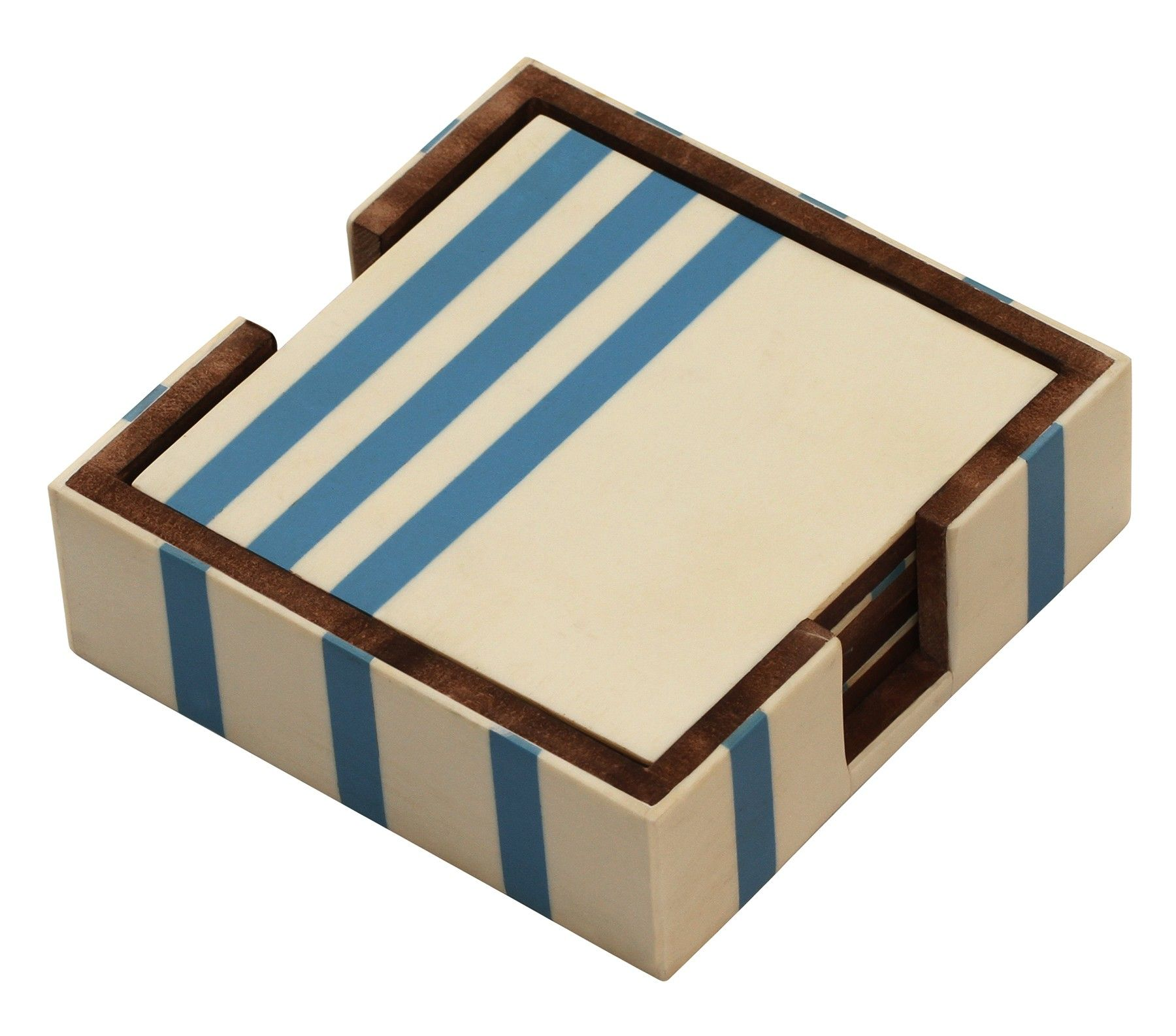 Tiny Mats Handmade Wooden Square Coasters In Set Of 4 With Holder In Blue Off White Colors Coaster Set Handmade Wooden Handmade Coasters