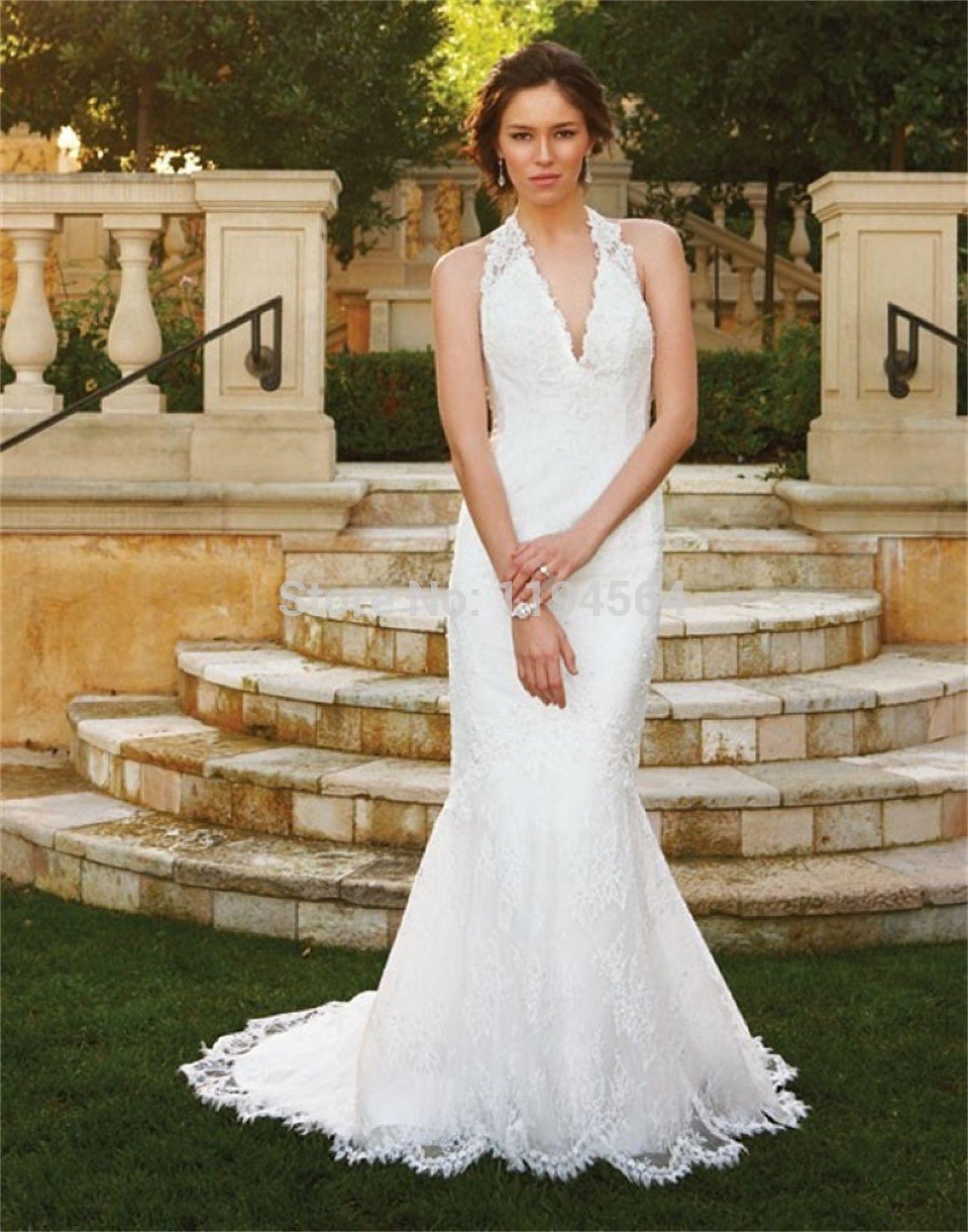 Halter neck backless wedding dress plus size dresses for wedding