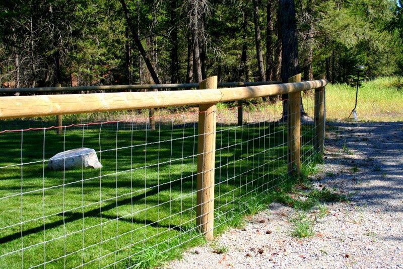 Farm Fence Gallery Wire Fence With Wood Posts And Top Rail