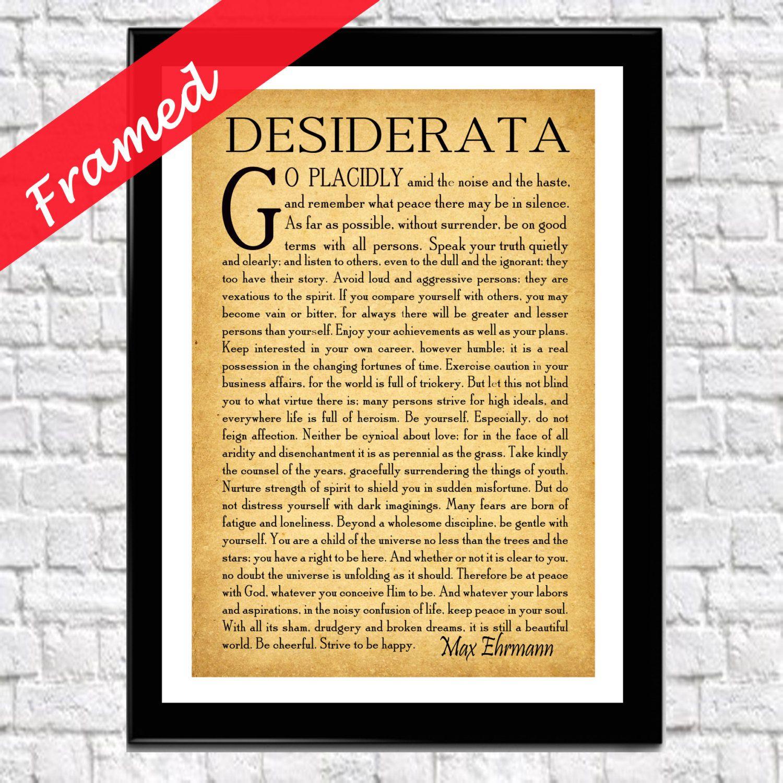Framed Desiderata Poem Desiderata Poster Framed Graduation Poem ...