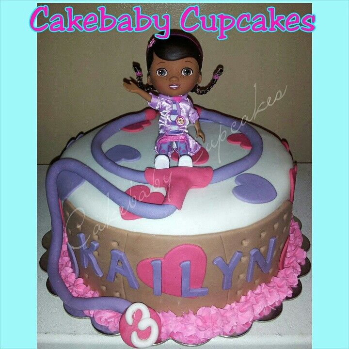 Doc McStuffins Themed 1 Tier Cake For A Birthday Cakebabycupcakes Cakes Fondant Atlanta Delivery Custom DocMcStuffins