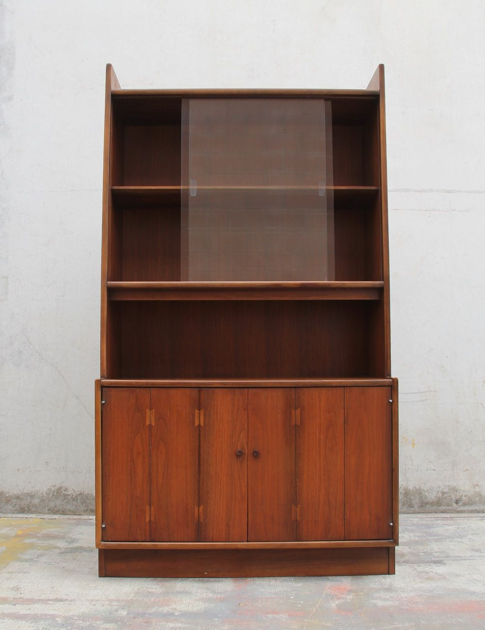 Image Of Walnut Hutch Display Cabinet With Sliding Glass Doors