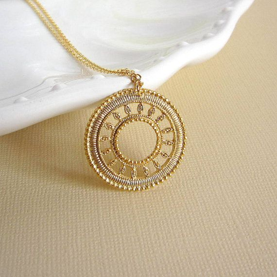 Sun medallion necklace filigree pendant gold filled chain charm