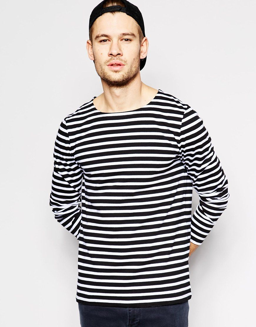 Image 1 of ASOS Stripe Long Sleeve T-Shirt With Boat Neck