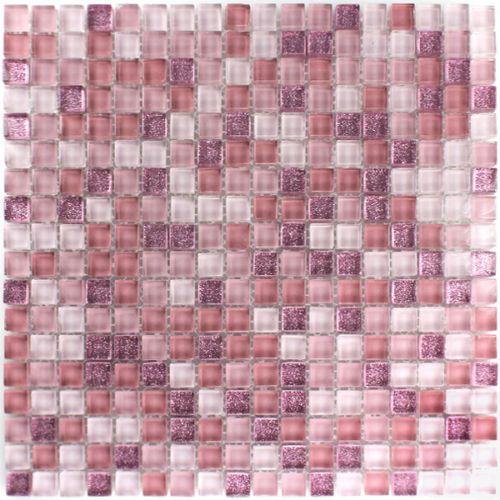 Glasmosaik Mosaik Fliesen Pink Rosa Glitzer Mosaikfliesen 15x15x8mm