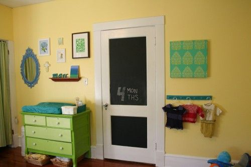 A happy yellow, green, blue and teal nursery with DIY touches and ...
