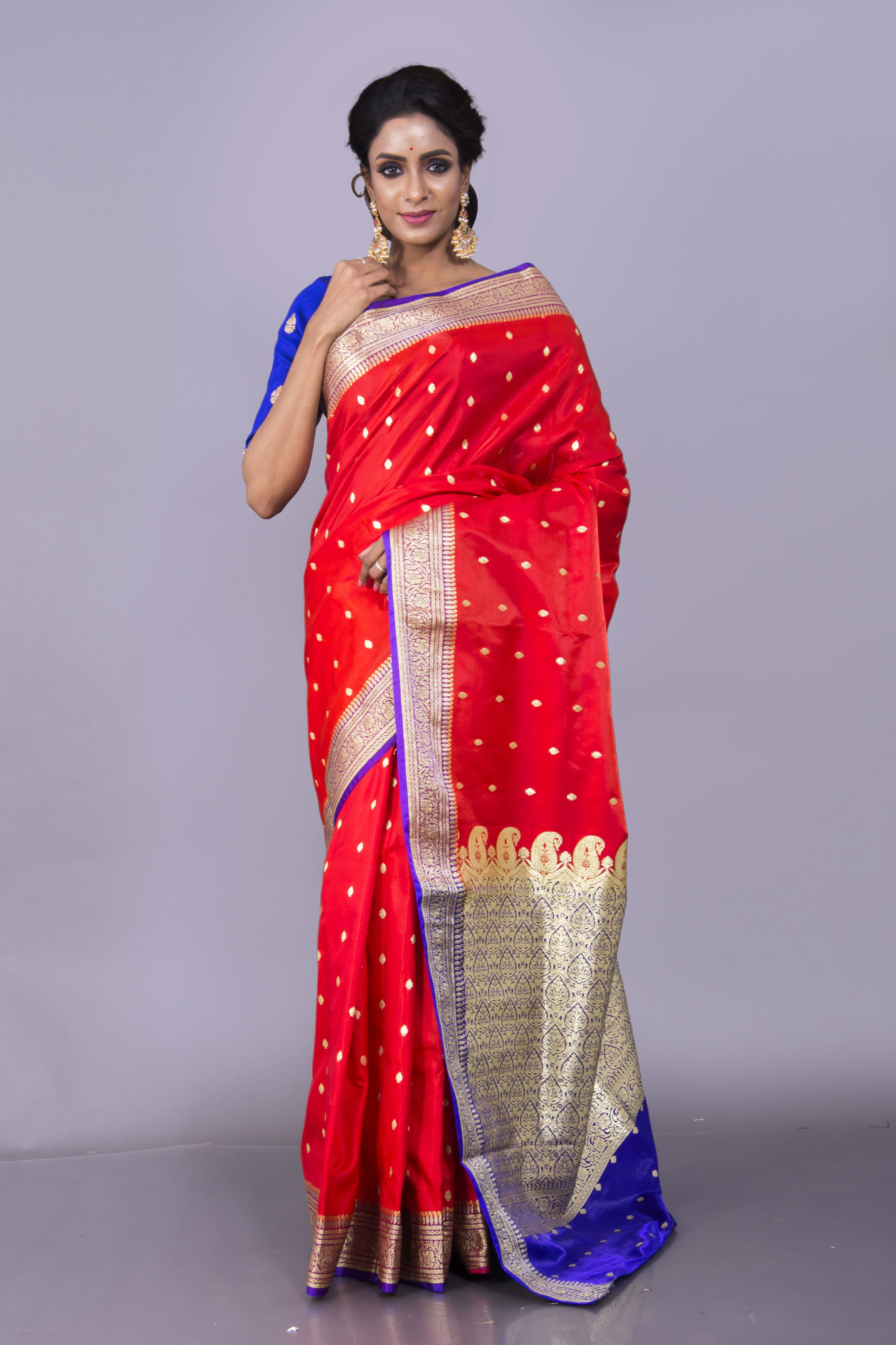 960f8741178c5c Art Silk Banarasi Saree in Bright Red and Blue