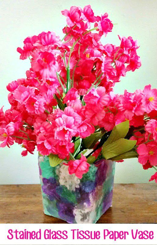 This stained glass tissue paper vase craft is inexpensive and the this stained glass tissue paper vase craft is inexpensive and the kids can make it themselves but adults will enjoy it too solutioingenieria Choice Image