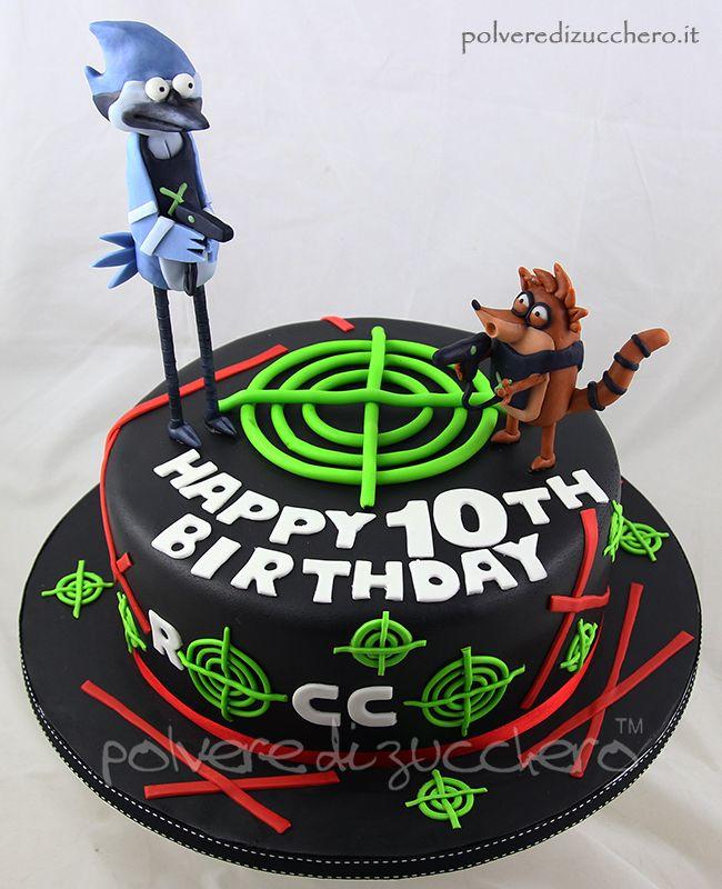 torta laser tag con Ricky e Mordeacai in pasta di zucchero cake