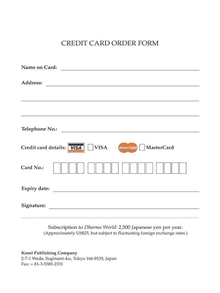 Credit Card Order Form Fill Out And Sign Printable Pdf Template Signnow Intended For Order Form With Credit Order Form Template Printable Signs Order Form