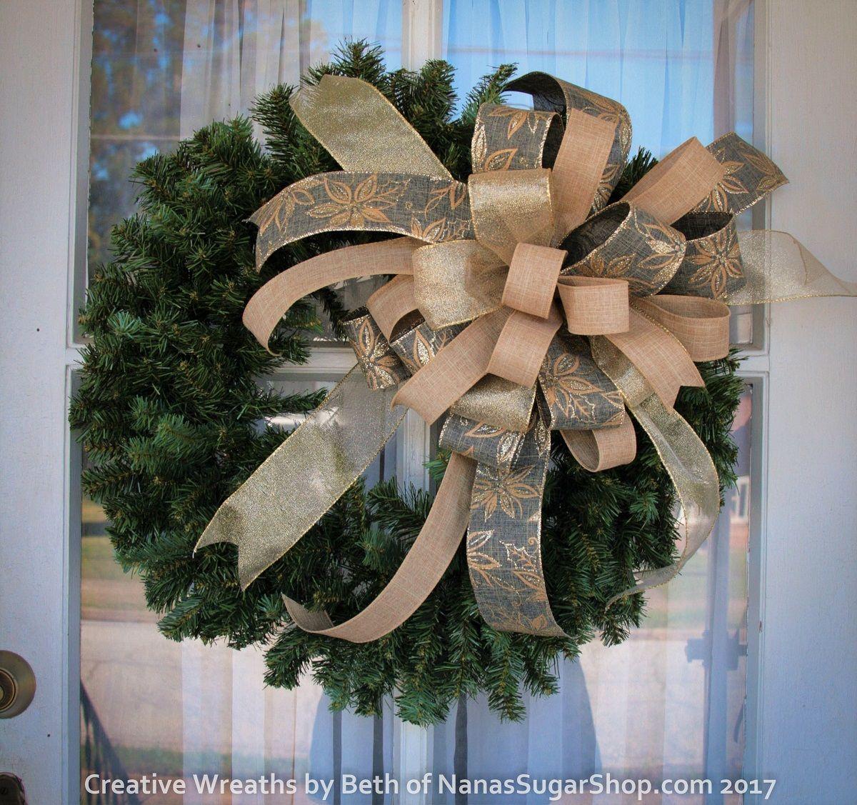 Large Blue Gold Linen Poinsettia Christmas Wreath Bow Etsy Com Nanassugarshop Christmaswreath Christma Holiday Wreaths Diy Christmas Wreath Bows Wreath Bow