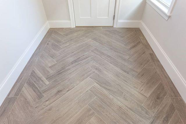 "RAY HURTEAU | DAN RUBIN on Instagram: ""Wood looking tile installed in a herringbone pattern with a single row border."""