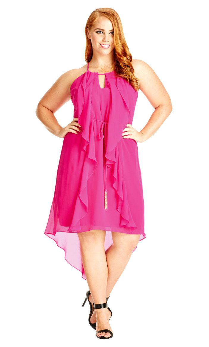City Chic Waterfall Frill Dress - Magenta | CLOTHES I LIKE, CLOTHES ...