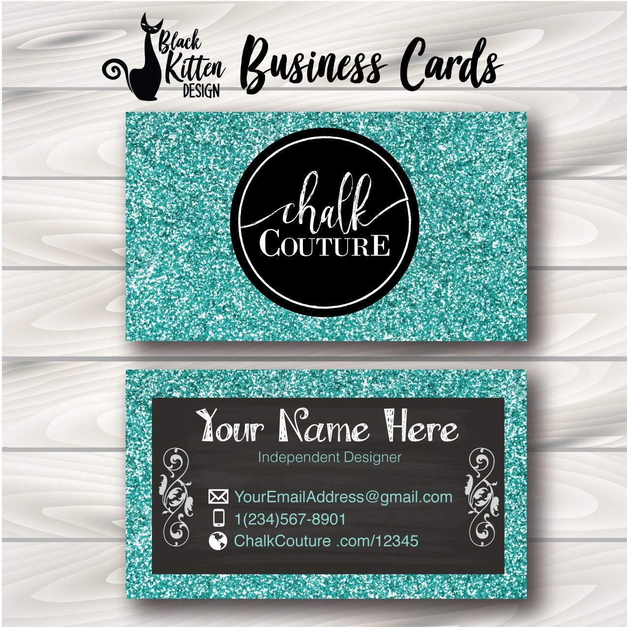 Chalk Couture Business Cards Teal Glitter, Chalk Couture