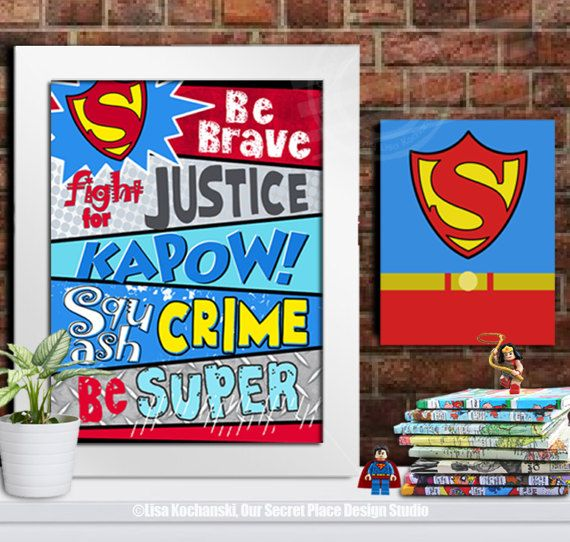 Digital Superhero Wall Art Superhero Theme Room Decor Superhero Wall Decor  Superheroes Room Ideas Superheroes Room