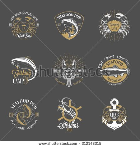 Set of vintage seafood logos with fish, crab, lobster, shrimp, anchor, helm and sunburst on gray background. White, gold and gray colors