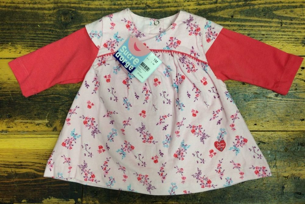 d3044029982 SUCRE D ORGE Pink Baby Girl s French Designer Dress - Age 1 Month BNWT  076  in Baby
