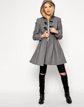 Enlarge ASOS PETITE Skater Duffle Coat with Skirt Detail | Coat or