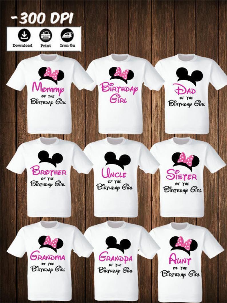 Disney Family Mickey Minnie mouse Set of 9 iron on transfers Mickey Minnie Mouse Matching Family Shirts Mickey Minnie Matching birthday set