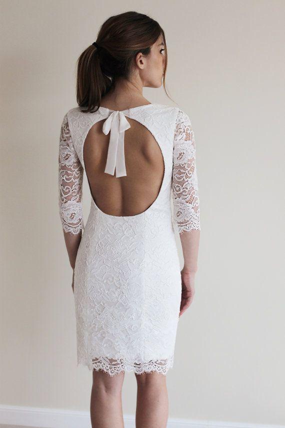 Rezeption-Kleid kurzes Hochzeitskleid mit offenen von PolinaIvanova ...