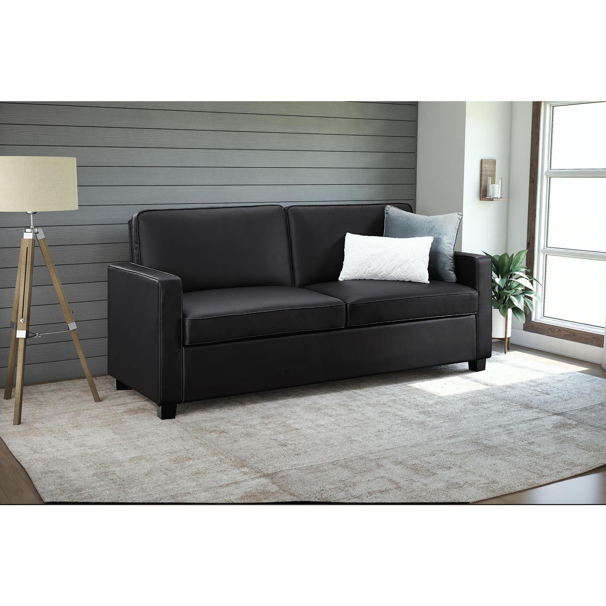 dhp signature sleep casey black faux leather queen sleeper sofa