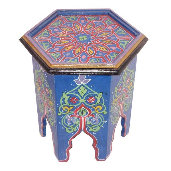 Gueridon Marocain Bleu Jpg 600 600 Muebles