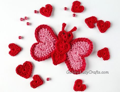 Crochet Butterfly Applique Heart Shaped Valentines Day Free