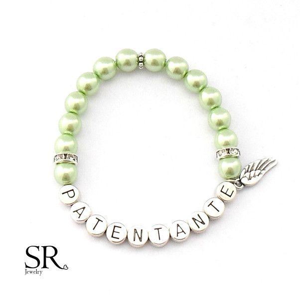 Gastgeschenke Armband Patentante Geschenk Perle Wunschfarbe Grün