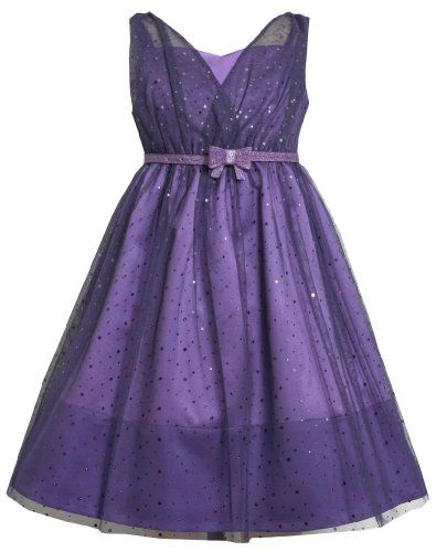 Purple Belted Cross Over Sparkle Dot Mesh Overlay Dress Pu8mt Bonnie
