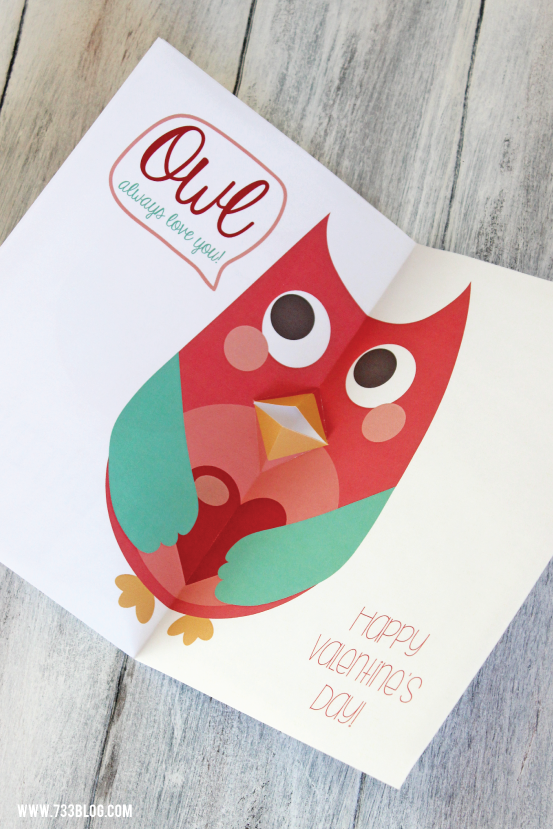 Printable PopUp Owl Valentines Day Card – Owl Valentines Day Cards