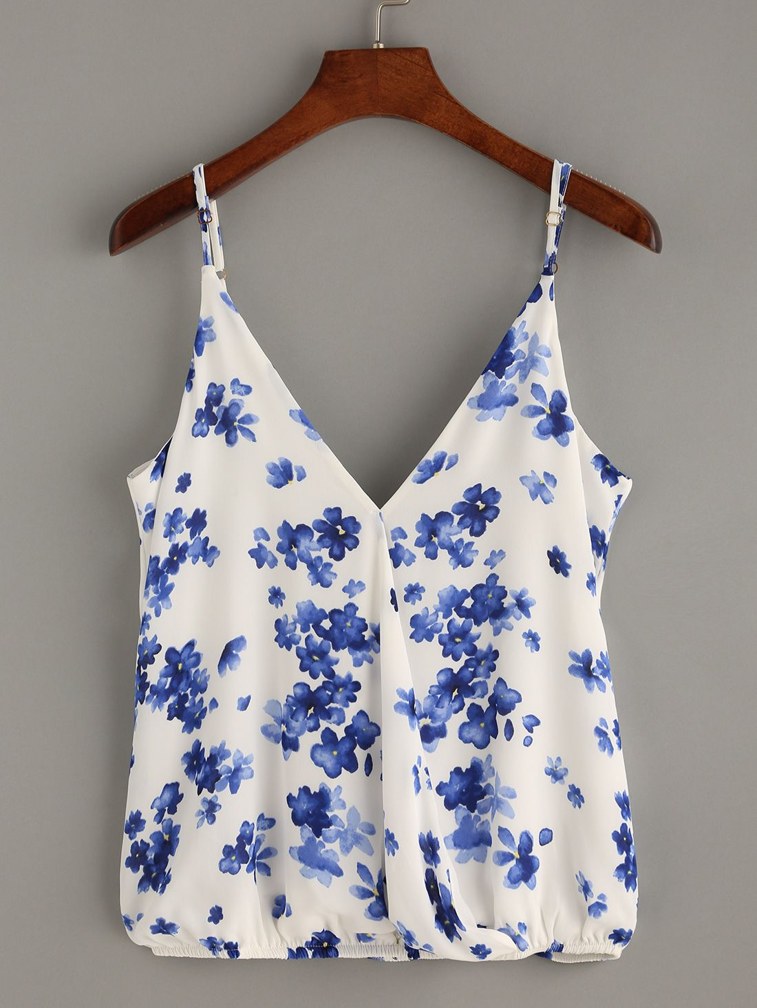 1596c32c08 Blue Floral Print Wrap Cami Top.   Fashion   Floral tops, Cami tops ...