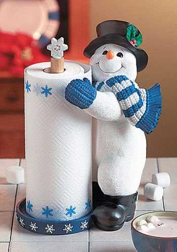 Christmas Standing Paper Paper Towel Holder Snowman Crafts Diy Cute Snowman