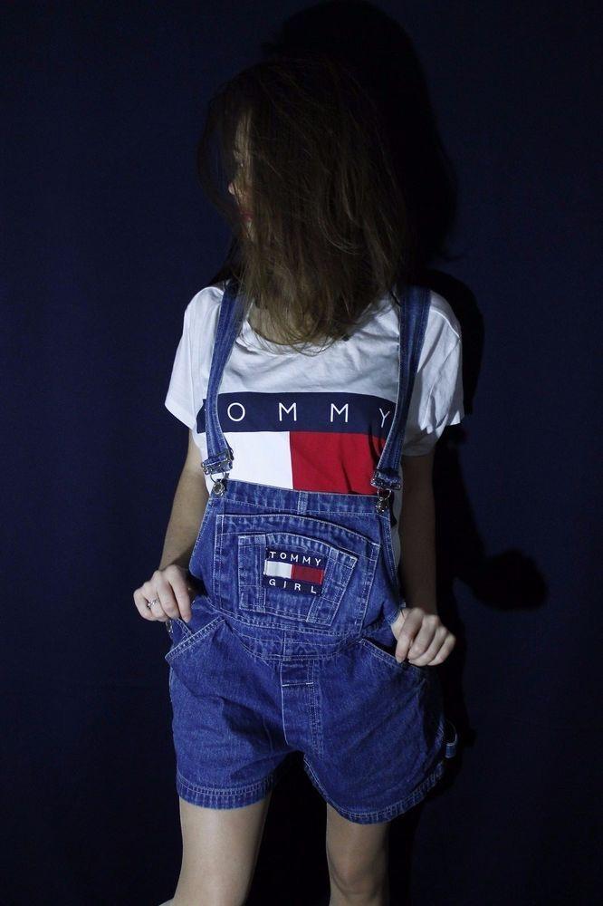 d1a6afaac18 Tommy Hilfiger Overalls Shorts Vintage TOMMY GIRL Logo Carpenter Women Size  M  TommyHilfiger  Jumpsuit