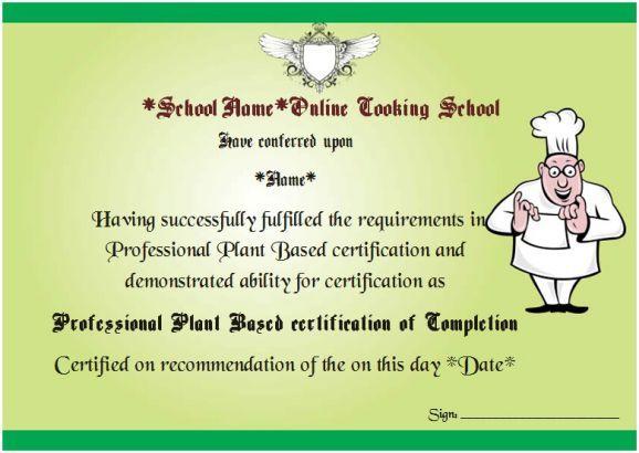 Online Cooking Course Certificate   Cook Certificate   Pinterest ...
