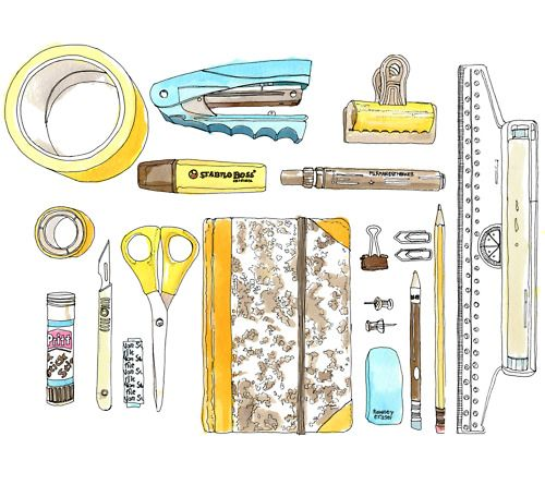 drawn and painted office supplies
