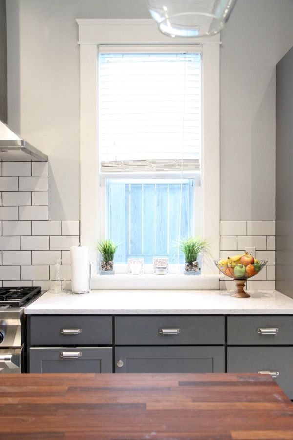 Yes Yes Yes Dark Lowers White Subway Tile With Dark Grout Butcher Block Island Thick Beefy