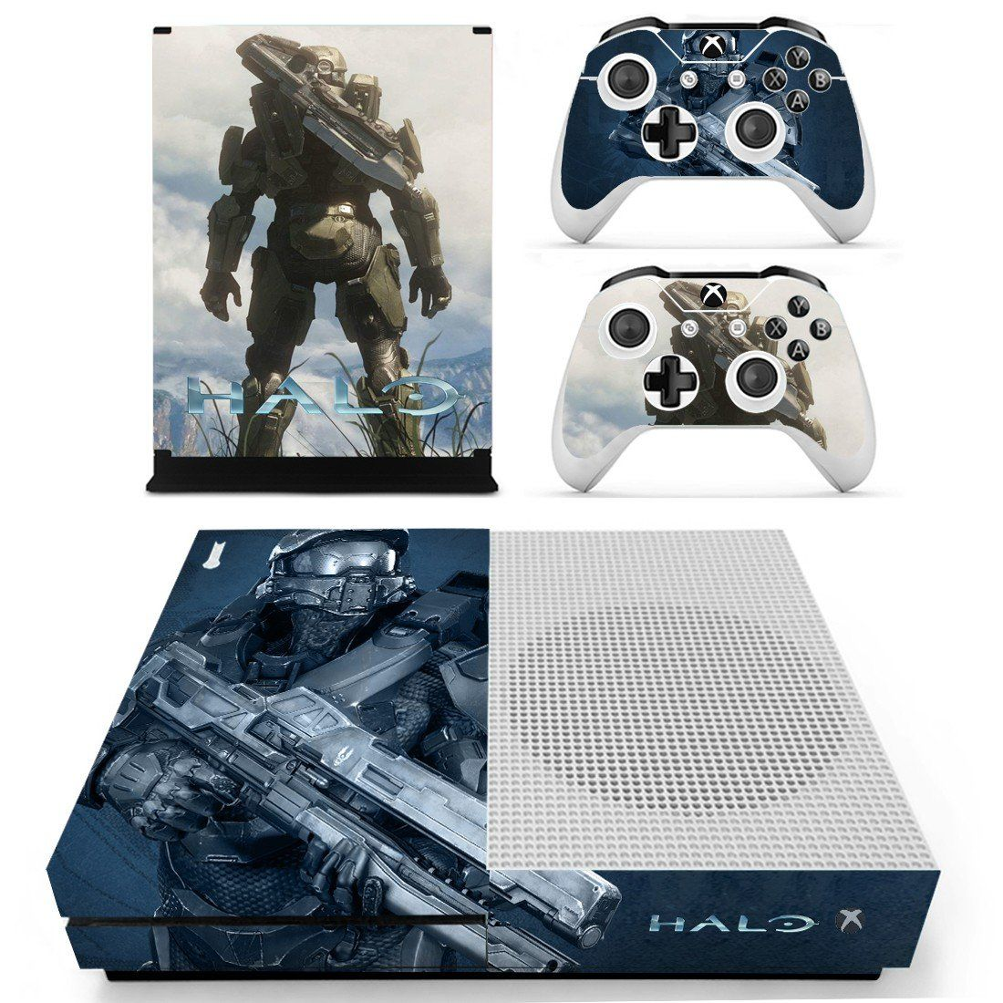 Halo Skin Decal For Xbox One S Console And 2 Controllers Xbox